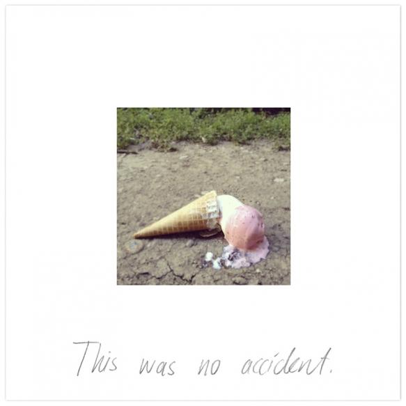 [bu bir kaza değildi.] 'accident', Fine art baskı ve el yazısı, 90x90 cm, 2013 © Cemre Yeşil
